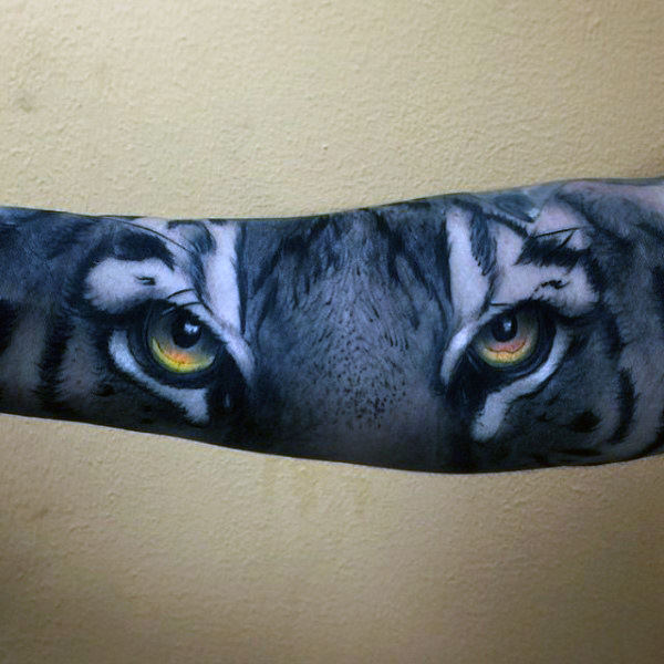 realistic colored tiger eye tattoo male sleeves tattoo pictures