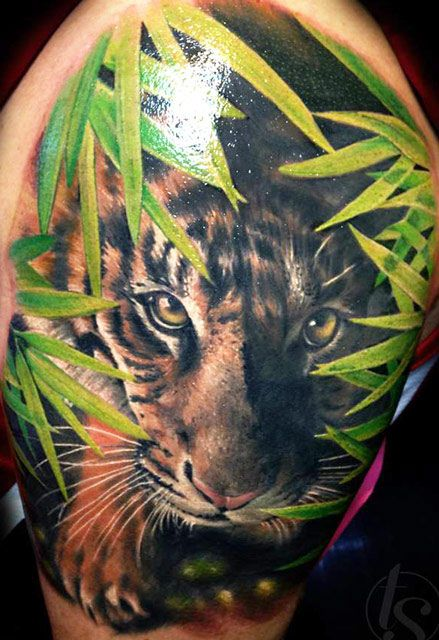 tiger in the jungle full water color tattoo pictures